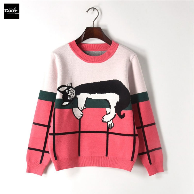2018 Winter New Fashion Sweater Female Pullovers Plaid Sleep Cat Jacquard Knitted Sweaters Pullover Runway Designer Tops Jumper