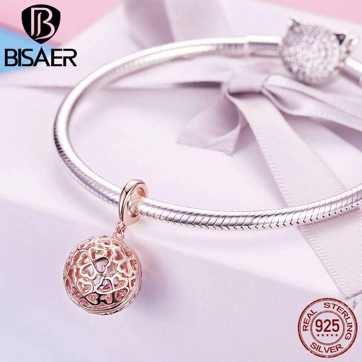 Corações por todo o lado contas bisaer 925-sterling-silver sorte quatro folhas trevo balançar encantos apto pulseira colar jóias diy ecc1127