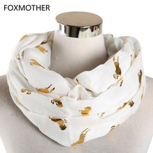 FOXMOTHER New White Pink Mint Green Glitter Shimmer Foil Gold Horse Scarves Ring Snood Loop Scarf Ladies Gifts
