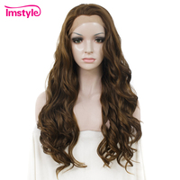Imstyle Dark Brown Wig Long Water Wave Synthetic Hair Lace Front Wigs Heat Resistant Fiber Highlight Natural Wigs For Women