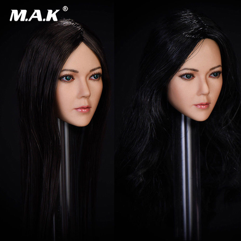 1/6 Scale Asian Beautiful Woman Song Head Sculpt Carved Figure Straight/Curls Hair for PH Suntan Female Action Figure Body 13 77 kumik 1 6 scale female head shape for 12 action figure doll accessories ph head carved not include the body and clothes