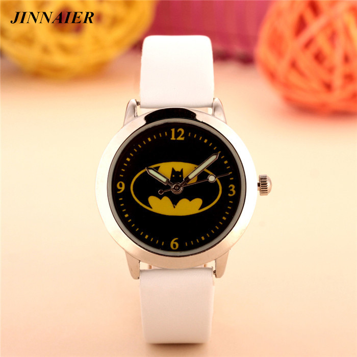By DHL 100pcs/lot Wholesales Newest Hot Sales Fashion 3D Cartoon Batman Boys Children Gifts Watch Quartz Leather Wristwatch