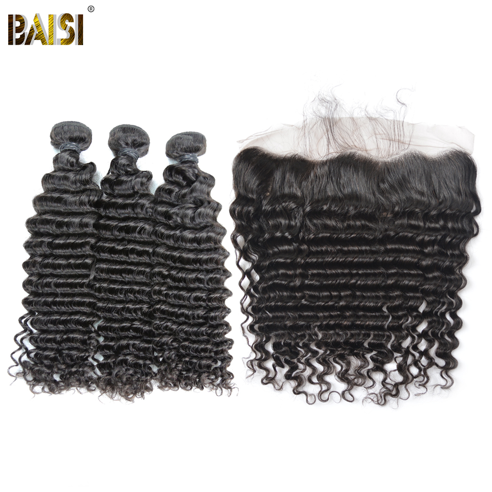 BAISI Hair Brazilian Deep Wave 8A Virgin Hair 3 Bundles with 13x4 Lace Frontal 100 Human