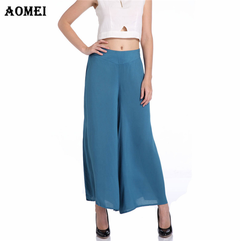 Women Summer High Waist   Wide     Leg     Pants   Loose   Pants   Skirts Solid Officewear Casual Trousers Beachwear Elegant Lady Wear to Work