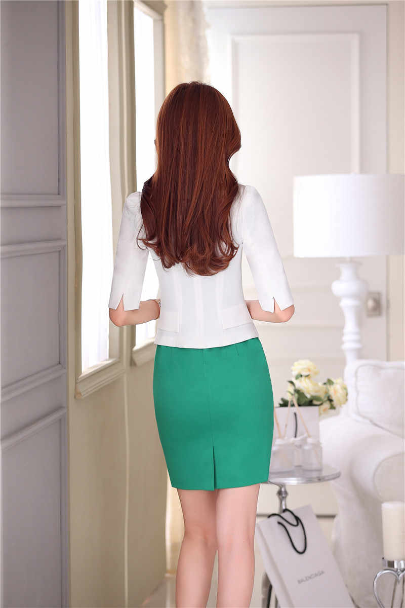 883cec410abf ... Formal OL Styles Spring Summer Professional White Business Women  Uniforms Design Blazer Suits With Jackets And