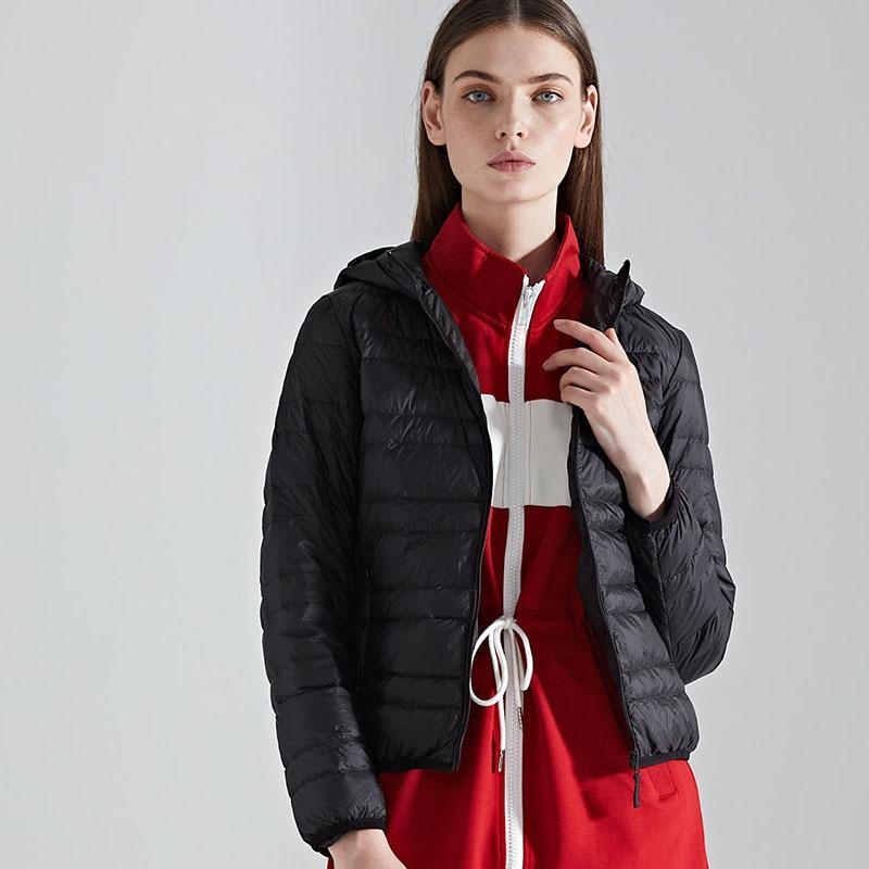 New arrival 2019 autumn winter hooded thin   down   jacket women slim short   down     coat   outerwear plus size
