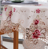 Kingart Hotel Hand Crochet Tablecloth Rectangle Embroidery Table Cloths Hollow Out Flower Table Cover For Wedding & Party Decor