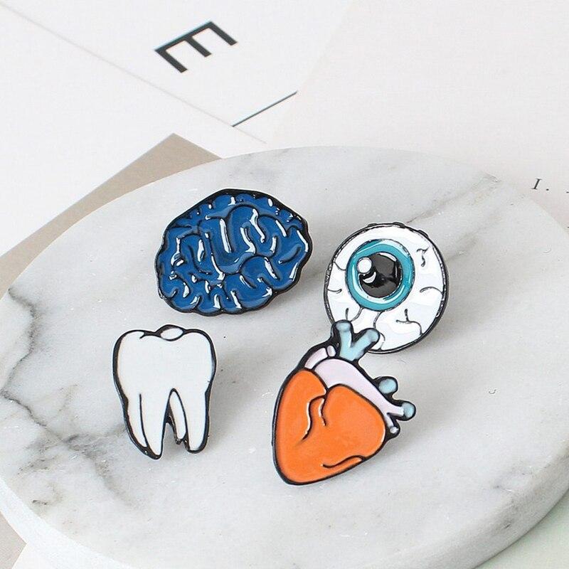 Cartoon Mini Alloy Human Organ Brooch Pins Brooches 4 Style Brain Heart Teeth Eye Wild Collar Cuff Pin Brooch Jewelry For Women