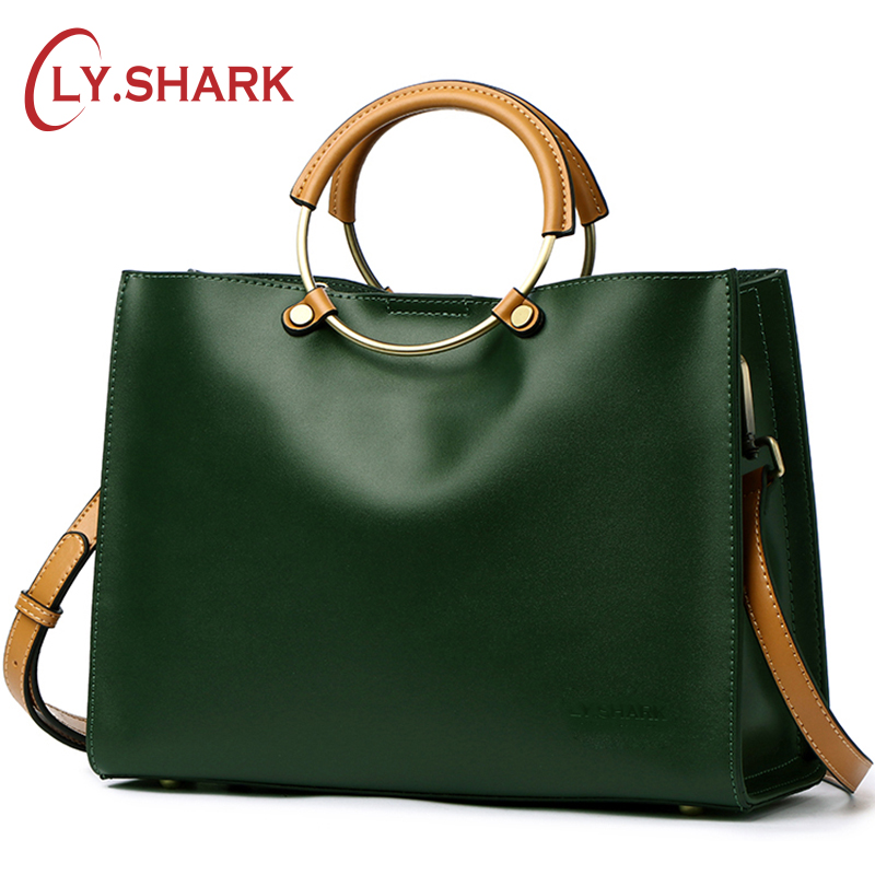 LY.SHARK Ladies Genuine Letaher Handbags Women Messenger Bags Famous Brand Shoulder Bag Female Crossbody Bags Ladies Tote Bag