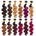 Soph queen волосы предварительно цветные бразильские волнистые волосы Омбре remy блонд шиньон пучки можно купить с закрытием человеческих волос ...