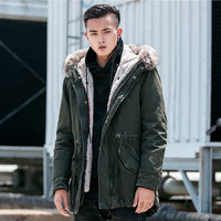 2019 Winter new Men's Two piece cotton Hooded Thickened Cold Cotton clothing Washed jacket Men's Army green jacket Size M XXXXL