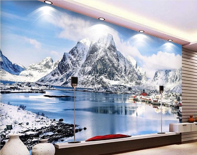Custom 3d Wallpapers For Living Room HD Beautiful Snow Mountain Scenery Nonwoven Wallpaper Bathroom