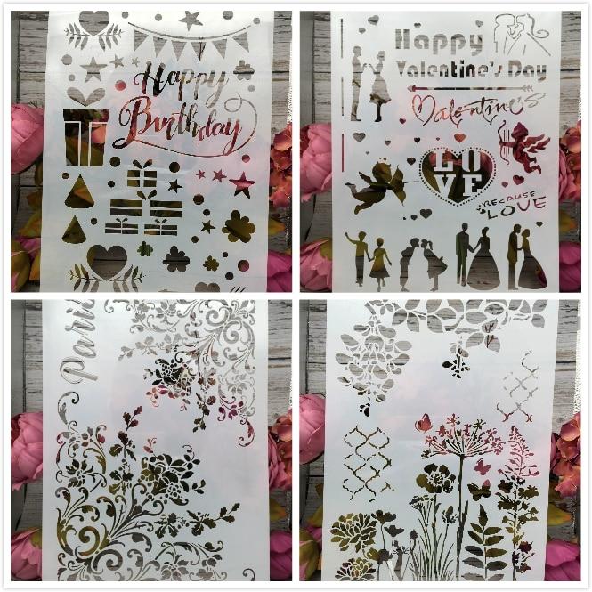 New 4Pcs/Set A4 Happy Birthday Paris DIY Layering Stencils Painting Scrapbook Coloring Embossing Album Decorative Card Template