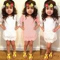 Cordón de La Princesa de Los Bebés Cabritos Del Vestido de Media Manga de La Flor Sólida Pequeña Señora Party Tutu Mini Vestido Elegante