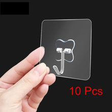 OHEART 10pcs Transparent Strong Self Adhesive Sucker Hook Door Wall Hangers Suction Cup Space Hooks For Hanging Kitchen Bathroom(China)