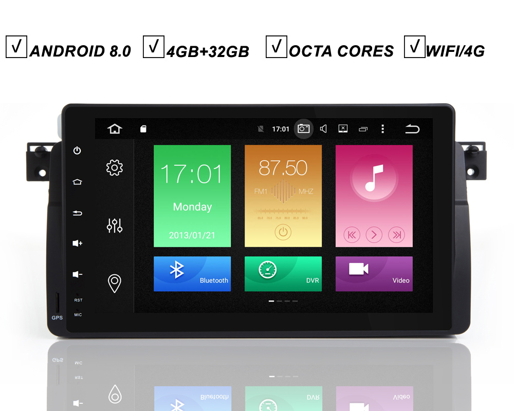 1 Din 9 Inch Android 8.0 Stereo Car DVD GPS Player For BMW E46 M3 3 Series Octa Core 4G RAM 32G ROM Radio Wifi DAB+DVR OBD MAP