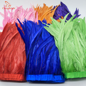 Image 3 - ChengBright 10 Yards 10 12 inch Width Rooster Tail Feather Trim Coque Feather Trimming For Crafts Dress Skirt Costumes Plumes