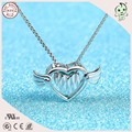 Hot Sale Good Quality And Cheap Price Simple Heart Design 925 Sterling Silver Heart Wing Pendant Without Stone