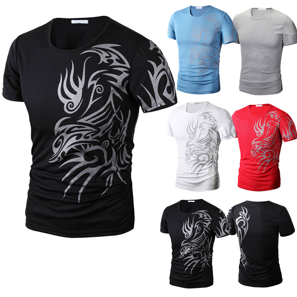 Swokii Summer Short Sleeve O Neck Chinese Style Printing Tops Comfortable Man Casual
