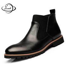 YAUAMDB/мужские сапоги мужской 38-46 весна-осень ботильоны на плоской подошве ботинки martin высокие солидный мужчина с круглым носком резиновая нескользящая обувь ly96