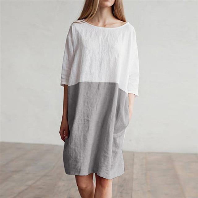d5f5083d4b9 2018 Women Casual Cotton Linen Dress Patchwork Ladies Loose Oversized  Pockets Tunic Shift Dress Drop Shipping 8710