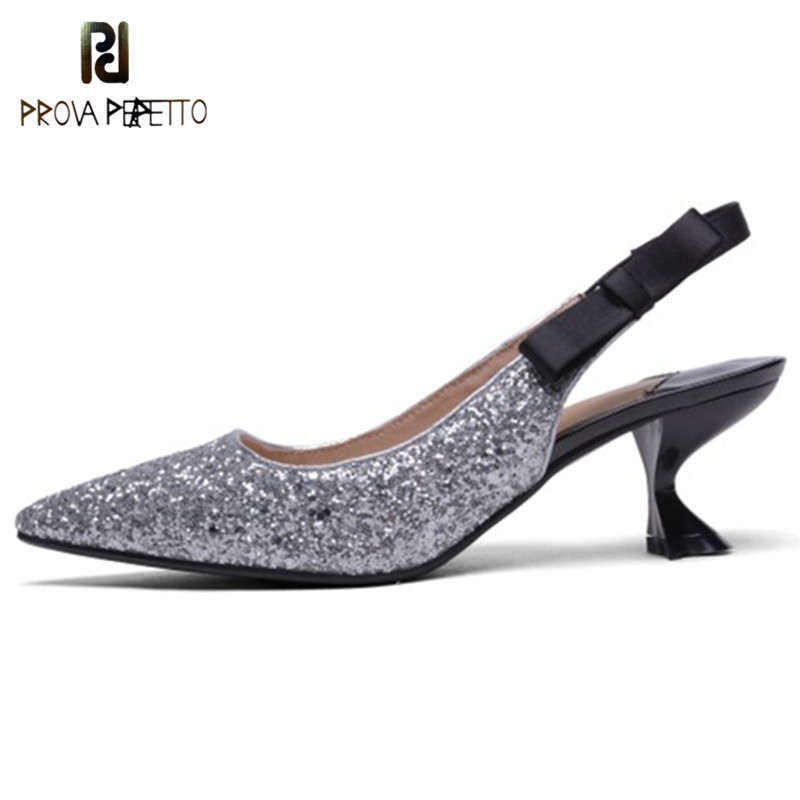 Prova Perfetto Fashion Bling High Heels Pumps Shoes Woman Pointed Toe Sequin Shoes Sexy High Heels Ladies Sandals Party Shoes prova perfetto new women pumps high heels rhinestone flower wedding shoes woman sexy high heels party shoes sweet princess shoes