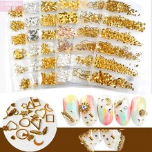 1Pack Nail Charm Rivet 6Design Gold/Silver/Hollow/Stud/Triangle/Heart-shape 3DNail Decoration For Art Accessories#JS0