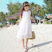 2019 New Summer Baby Girls Princess Dress Girl's Lace Dress Hollowed Out Children Dress Toddler White Dress Kids Clothes,#3045