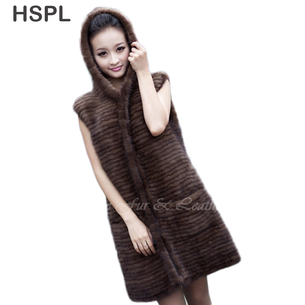 CDV178 2013 Mink Knitted Fur Coat Medium Long Fight Mink Fur Coat Hooded Outerwear Vest