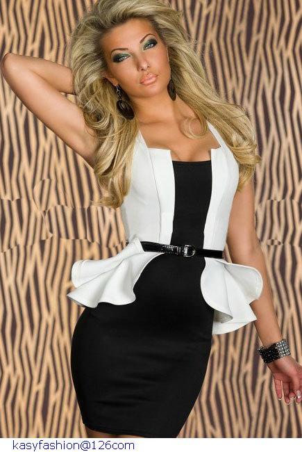 Vestido peplum preto e branco