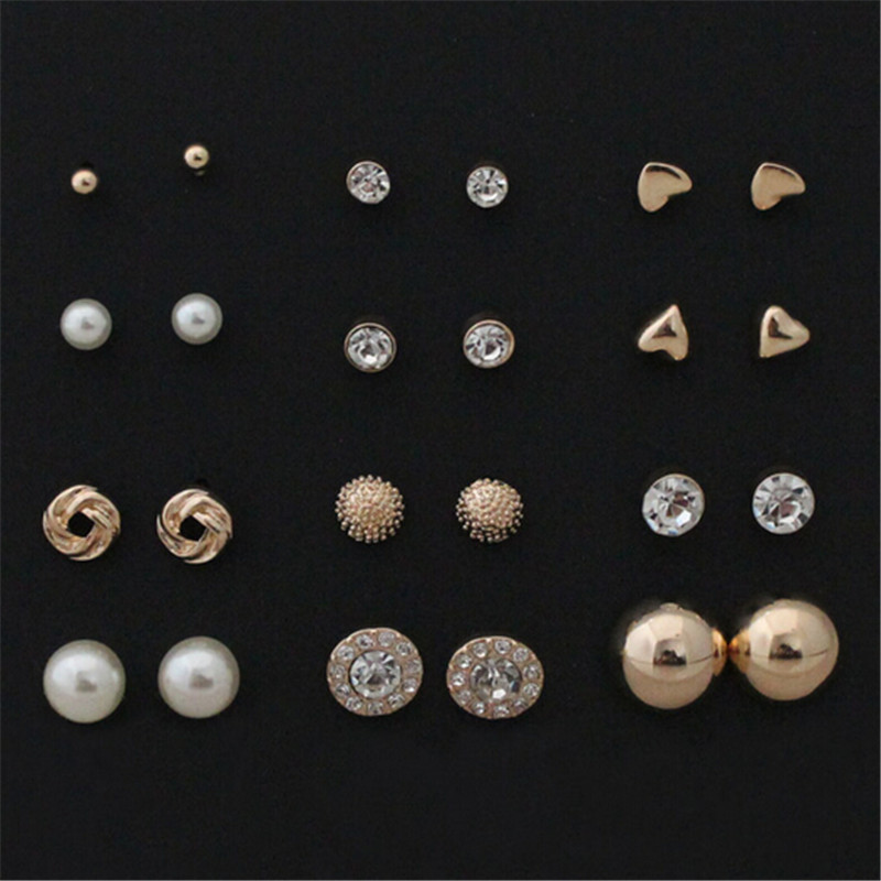 wing yuk tak factory Store 12 pairs sets Round Square Ball Alloy Crystal Stud Earrings For Women Hot-selling Cute Earring Sets