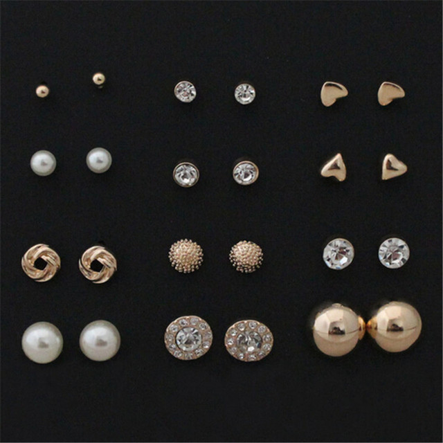 12 Pairs Round Square Alloy Crystal Stud Earrings