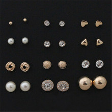 12 pairs sets Round Square Ball Alloy Crystal Stud font b Earrings b font For Women