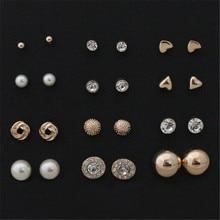 12 пар наборы Круглая Площадь Шар Сплава Хрустальные Серьги Для Женщин Горячей продажи Милые Серьги Наборы
