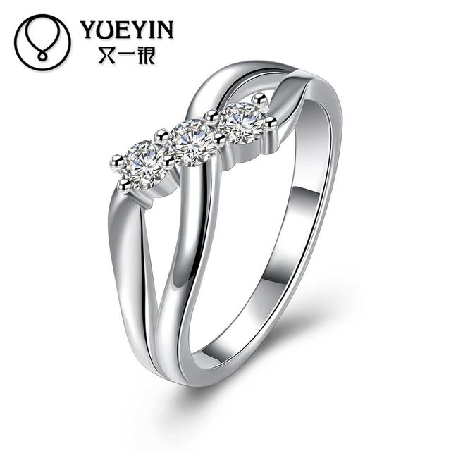 Silver plated wedding rings for bridal silver plating jewelry anel