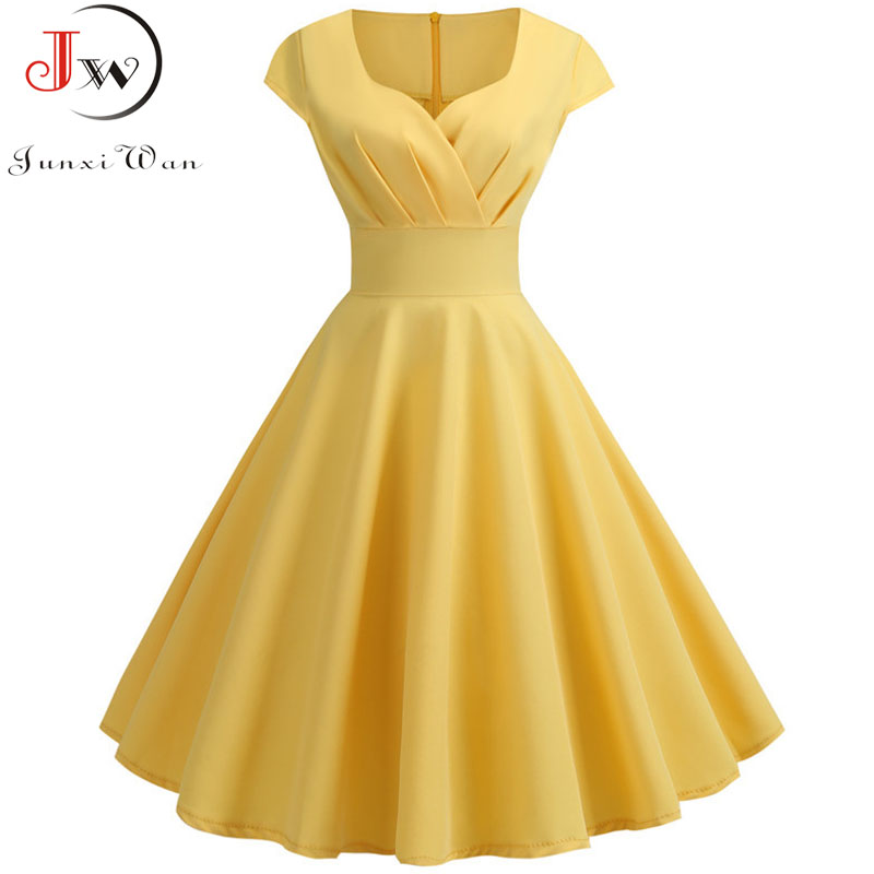Summer Dress Women 2019 Short Sleeve Hepburn 50s 60s Vintage Pin Up Rockabilly Dress Robe Plus Size Elegant Evening Party Dress