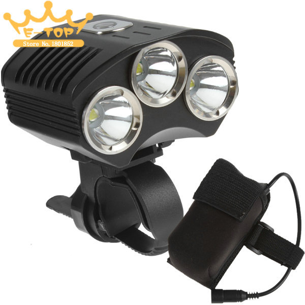 SecurityIng XML T6 4500 Lumens LED Front Bicycle Light Bike Lamp + 4400mAh Battery Pack 10000lm 6x xml t6 led front head bicycle bike front cycling light lamp head headlight black