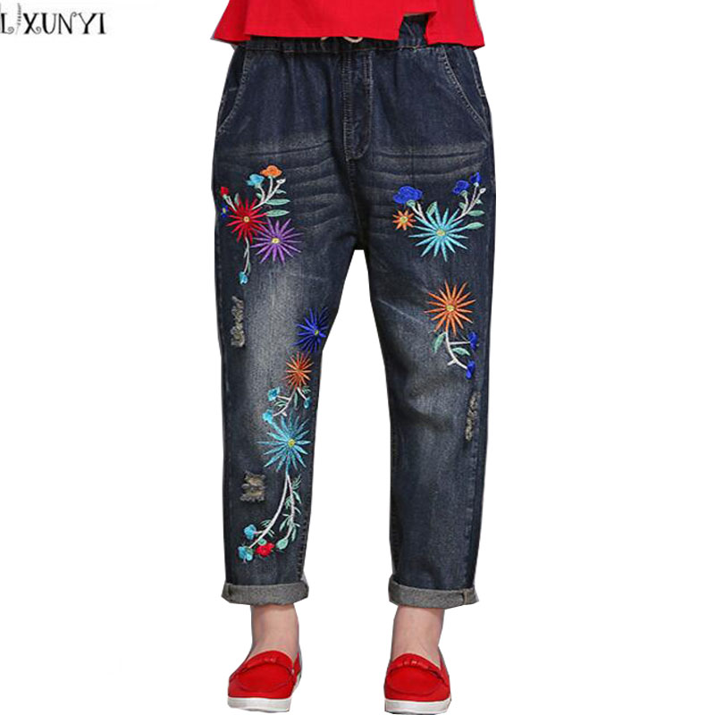 Loose jeans Woman Plus Size Elastic Waist Vintage Ladies Flower Embroidered jeans Mujer Loose Denim Pants Women Spring Trousers plus size pants the spring new jeans pants suspenders ladies denim trousers elastic braces bib overalls for women dungarees