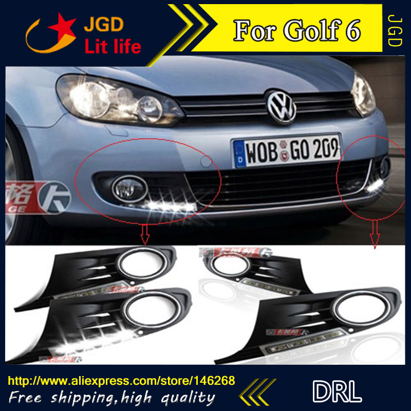 Free shipping ! 12V 6000k LED DRL Daytime running light for VW Golf 6 2009-2012 fog lamp frame Fog light Car styling 2009 2011 year golf 6 led daytime running light