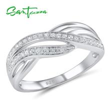 SANTUZZA Silver Ring For Women 925 Sterling Silver Fashion Round Rings for Women 2017 Cubic Zirconia Ringen Party Jewelry cheap 925 Sterling CN(Origin) GDTC Fine Pave Setting R307053WCZSL925 TRENDY Wedding Bands Rings Silver 925 Metal Rings Women Rings