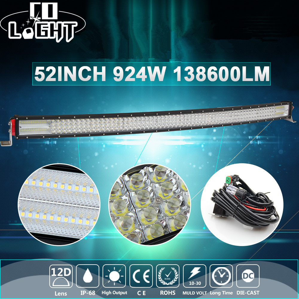 CO LIGHT 924W 12D 52inch Curved LED Light Bar 4-Rows Combo Auto Offroad Led Bar For Lada Jeep SUV ATV 4x4 Tractors Truck 12V 24V