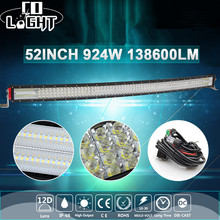 CO LIGHT 924W 12D 52inch Curved LED Light Bar 4-Rows Combo Auto Offroad Led Bar for Lada Jeep SUV ATV 4x4 Tractors Truck 12V 24V co light 12d led bar curved 405w led light bar 32led light bar strobe work light combo led auto lamp for atv jeep truck offroad