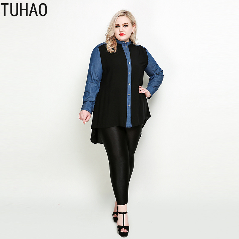 TUHAO NEW STYLE <font><b>Women</b></font> Office Lady Spliced <font><b>Women</b></font> Denim Chiffon Blouses <font><b>Plus</b></font> <font><b>Size</b></font> <font><b>7XL</b></font> 6XL 5XL Pacthwork Work Blouse Shirt RL image