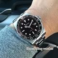 40 мм Parnis механические часы черный керамический ободок черный циферблат красный GMT светящиеся отметки сапфировое стекло автоматические муж...