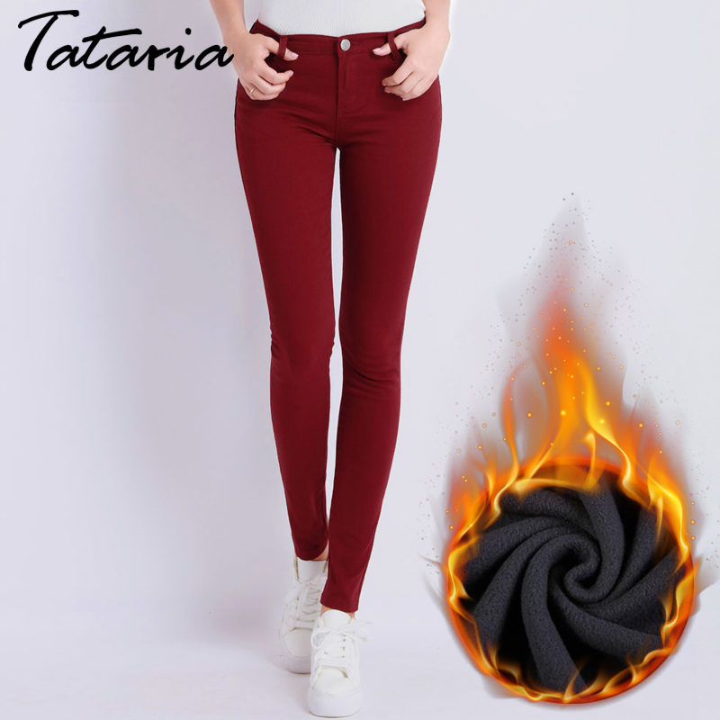 Dünne frauen Warme Jeans Für Frau Plus Größe Candy Farbe Dicke Samt Winter Warme Jeans Frauen Stretch Jeans Denim bleistift Hosen