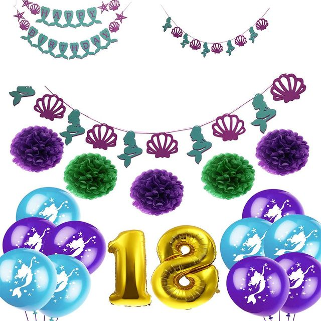 Multicolor Mermaid Theme Birthday Decor Paper Tassels Flower Ball 18th Banner Kids Party Baby Shower Supplies