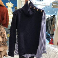 Korean Autumn Striped Button Patchwork Women Sweater 2018 New Fashion Casual Long Sleeve Knitted Pullover Winter All Match Tops