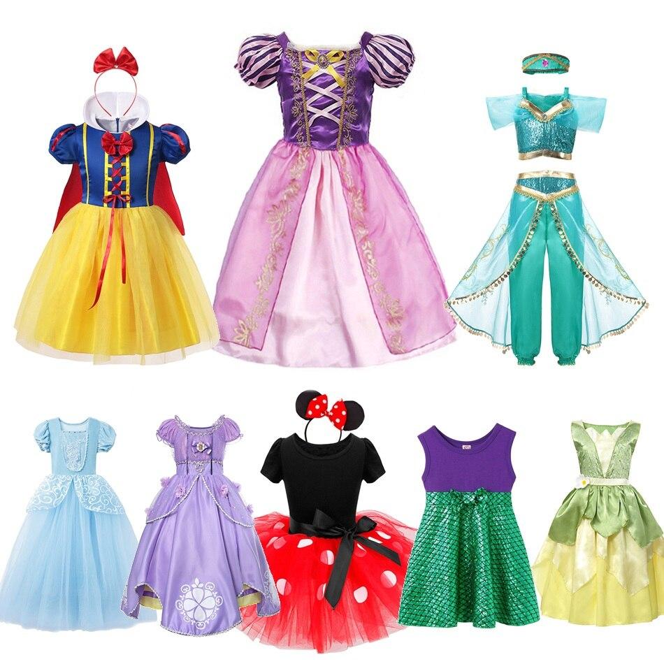 MUABABY Little Girl Fancy Princess Dress Up Elsa Anna Moana Rapunzel Sofia Cinderella Costume Tiana Mickey Halloween Party Dress