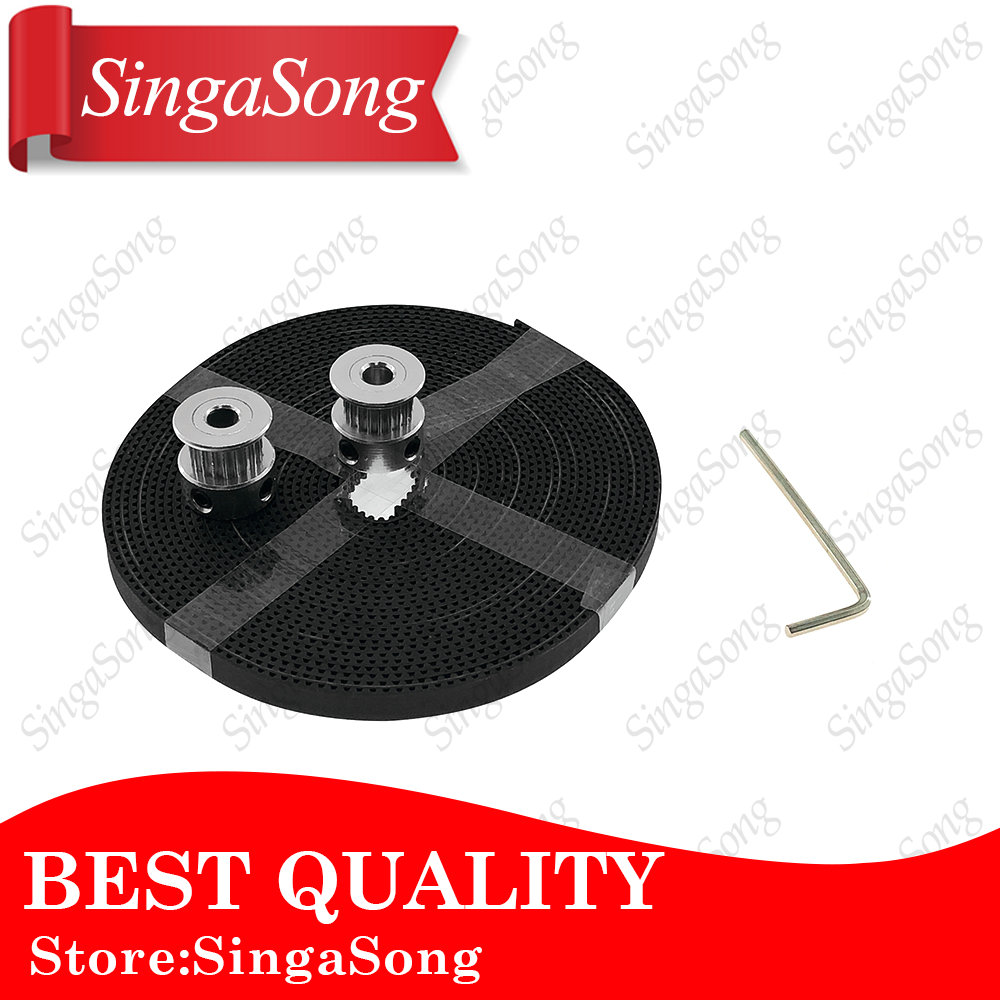 2pcs GT2 16teeth 16 Teeth Bore 5mm Timing Alumium Pulley + 2Meters Rubber GT2-6mm Open Timing Belt Width 6mm for 3D Printer gt2 2pcs 20 teeth bore 5 8 mm pulley with 2m pu with steel gt2 6mm open timing belt 2gt timing belt 6mm width for 3d printer