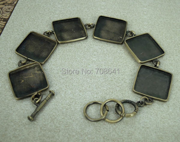 Antique Bronze Brushed Brass Bracelet 18mm Square Bezel Trays Blank Glass Cabochon Bases Cuff Bangle Bracelet